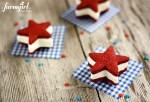 Patriotic Red Velvet Shortbread Ice Cream Sandwiches