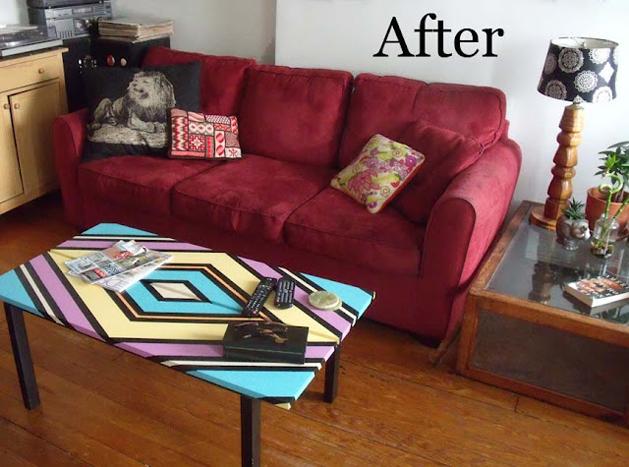 Geometric Painted Coffee Table DIY