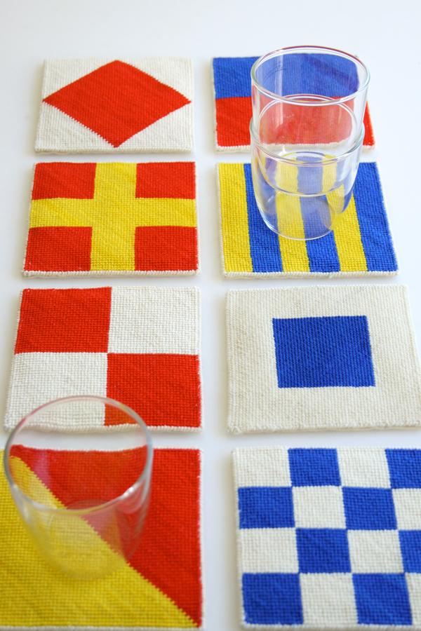 Free Nautical Needlepoint Coaster Template