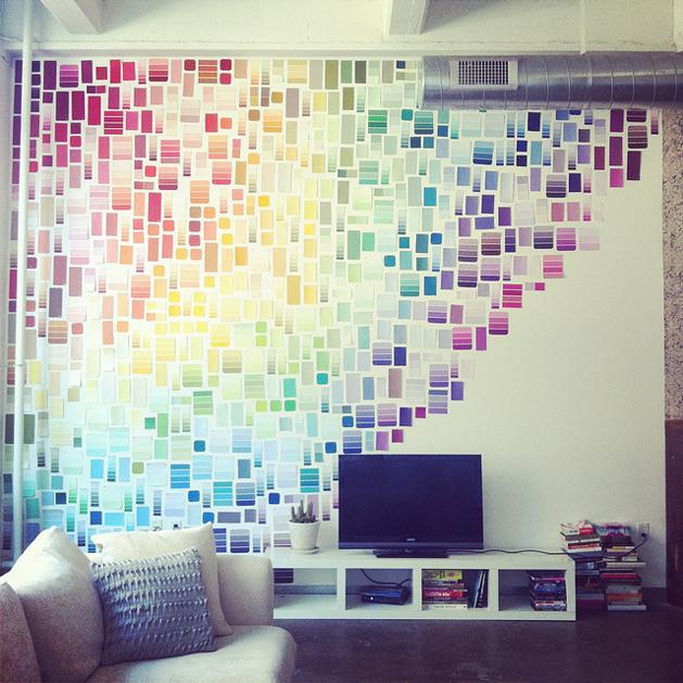 Paint Chip Rainbow Wall