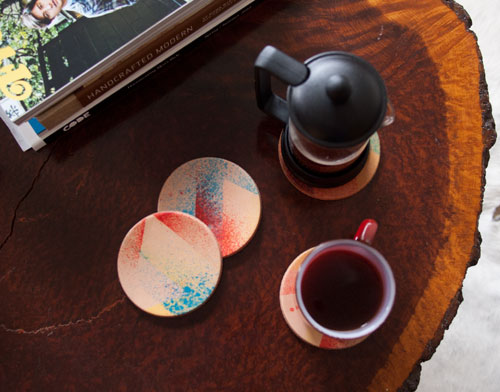Stained Leather Coasters