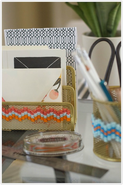 How-To: Cross-Stitched Office Organizers