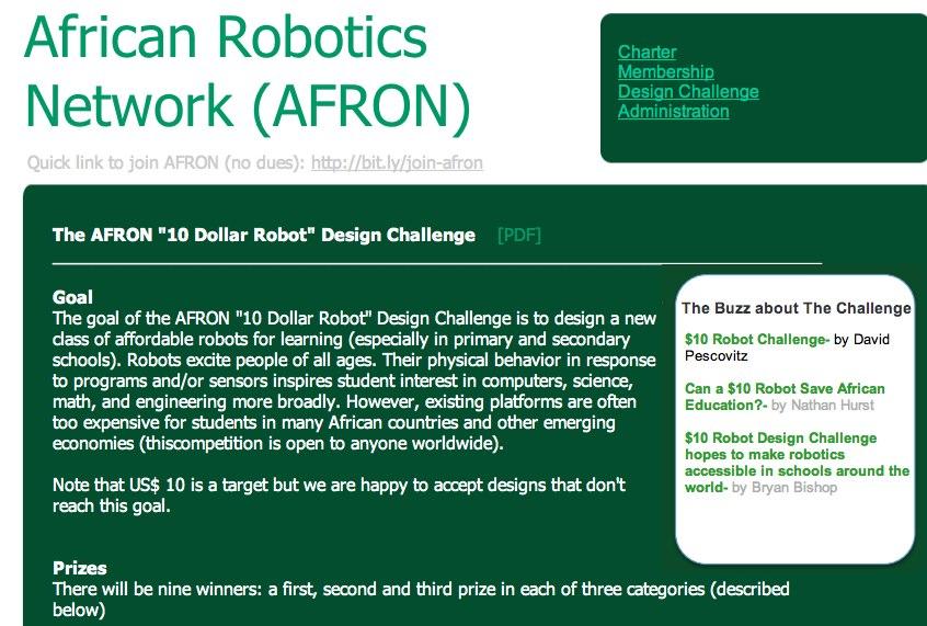 AFRON Design Challenge: An Educational Robot for