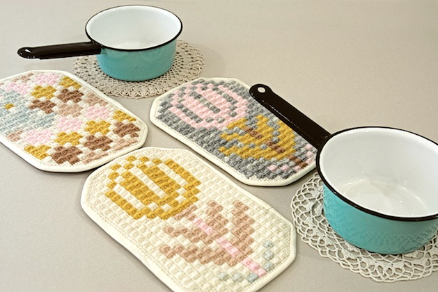 Hand-Embroidered Potholders from Karen Barbé