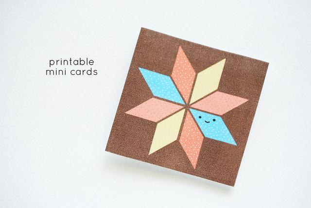 Printable Mini Quilt Block Cards