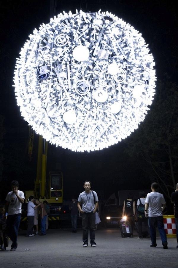 Fluorescent Light Moon Sculpture