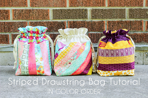 Striped Drawstring Bag Tutorial