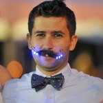 Matt Richardson shows off his LED 'stache