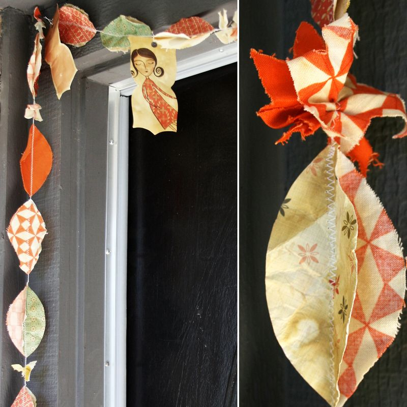 Coffee Stained Paper & Fabric Garland