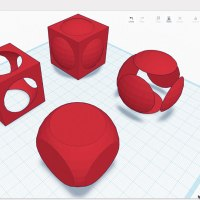 Basic Boolean operations illustrated in Tinkercad. From back to front: union, two possible diferences, and intersection of concentric cube and sphere.