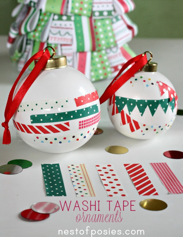 Washi Tape Christmas Ornaments
