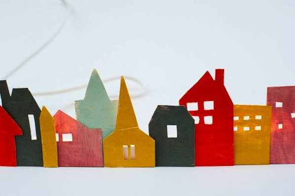 How-To: Colorful Wooden Christmas Village