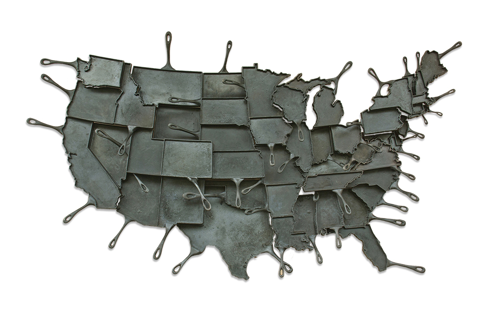 Cast Iron Skillet Map of the U.S.