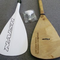 """Here's a Naish carbon stand-up paddle that retails for $3.99, next to my """"copy"""" which didn't cost anything to make and took an hour or so of work."""