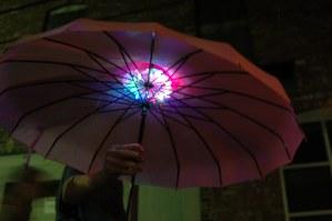 Illuminated umbrella.