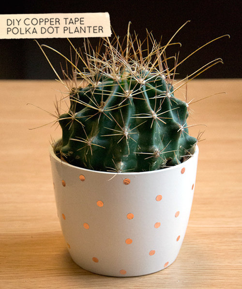 How-To: Polka Dot Copper Tape Planter