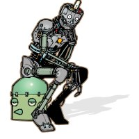 """illustration of a humanoid robot mimicking the stance of Rodin's sculpture """"the thinker"""""""
