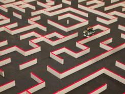 Navigating a massive maze.