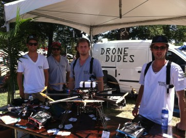The Drone Dudes, an aerial cinematography crew from Los Angeles, were a hit with their one-of-a-kind octocopter flying robot.