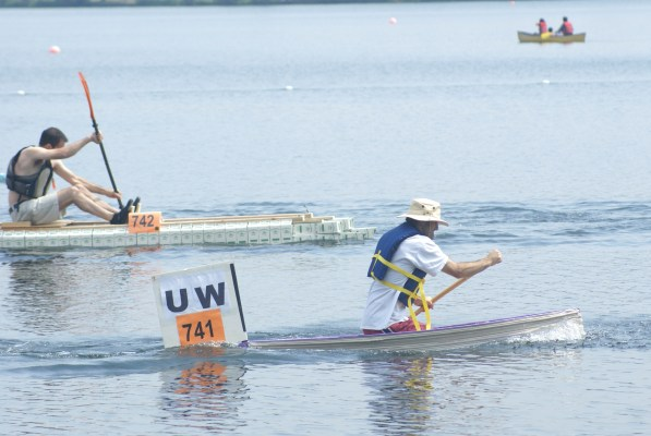 Racing at Seafair Milk Carton Derby. Note the traditional carton boat to the left.