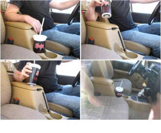 Create this very sneaky hidden remote that activates your garage door when you lift a soda cup in your car. Link: Secret Garage Door Remote.