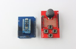 The BLEduino (left) can be made pin-compatible with the standard Arduino layout using the Shield-Shield.