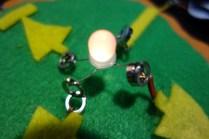 Detail of a feltronics LED lit up.