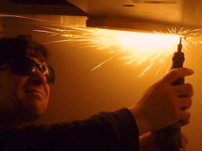 Pieces go flying when using rotary tools. This is especially true with cut-off wheels-- sparks shower and the wheels can spontaneously disintegrate. Protect those eyes!