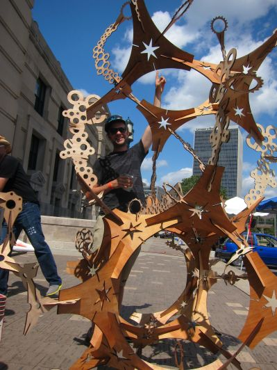 Andy Smith makes lamps but today he was playing with cool modular laser cut shapes and building impromptu sculptures.