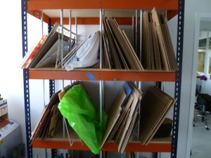 Laser cutter materials stacked neatly.