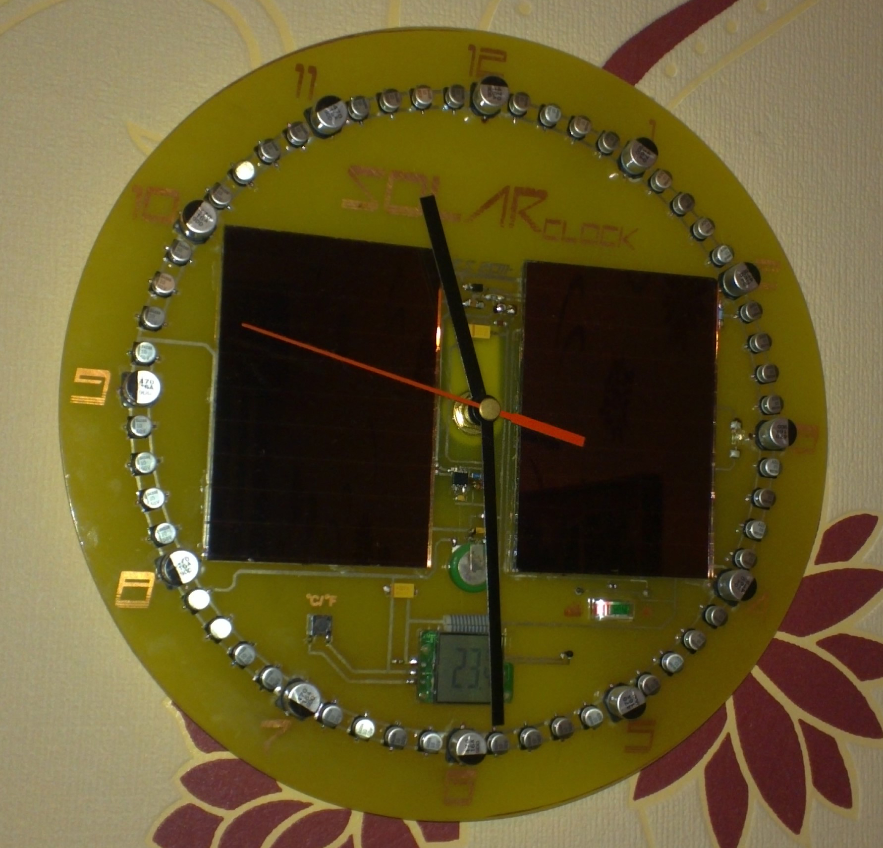 Clock Uses Capacitors To Store Energy and Mark Time