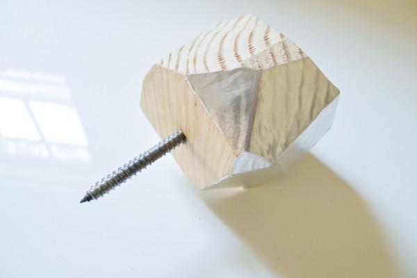 How-To: DIY Metallic Faceted Wood Doorknob