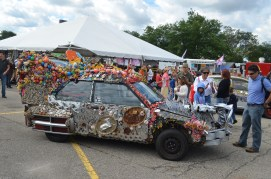 The creation of Mark Moffett, is called BG Artcar, caps off his third year in Detroit.