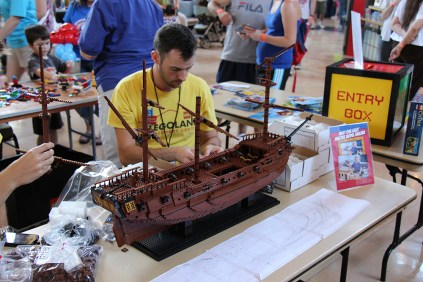 The builders from nearby LegoLand Discovery Center came over to create a pirate ship.