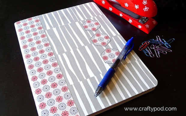 How-To: Cover a Composition Book with Spoonflower Wallpaper