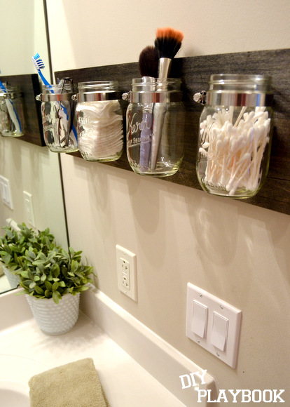 How-To: Mason Jar Bathroom Organizer