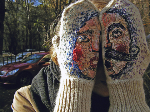 Hand Embroidered Mittens