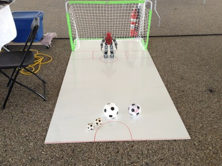 Humanoid Robots playing Soccer with Kids