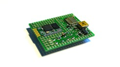 The Espruino board with a HC-05 Bluetooth module in the prototyping area.