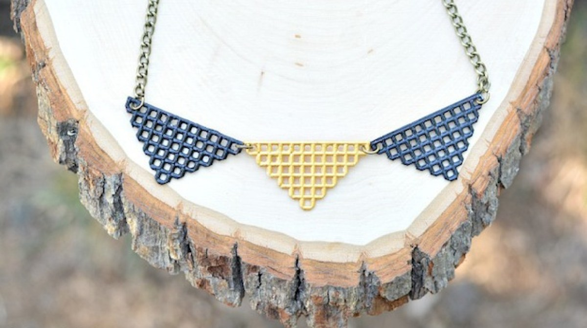 How-To: Geometric Plastic Canvas Triangle Necklace