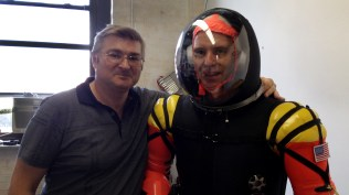 Final Frontier founders Ted Southern (right) and Nikolay Mosieev (left) show off one of their commercial spacesuit designs.