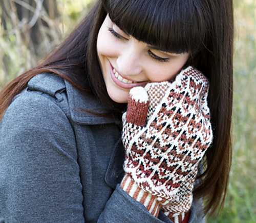 Knitted Fox Pattern Mittens