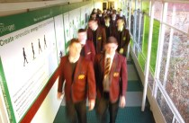A busy corridor fitted with the energy harvesting tiles.