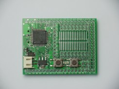 The top of the Espruino board showing the ARM Cortex M3 CPU, the JST 2 pin battery connector and the two on-board buttons.