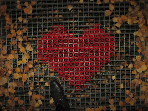 Yarn Bombing with Cross-Stitched Hearts