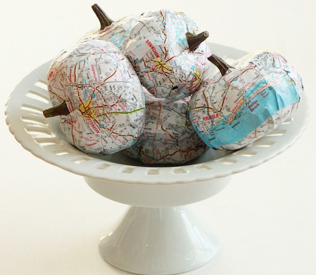 How-To: DIY Map-Covered Pumpkins