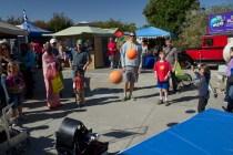 Tech High robotics club, 675, shooting basketballs at the, sometimes, oblivious crowd.