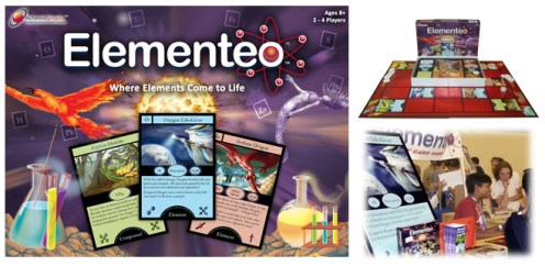"""When her kids were between 8 and 10 years old, my friend Kate """"had a good run"""" with a kid-designed, cards-on-a-board game called Elementeo. And so Kate inspired me to check in with the game's designer, Anshul Samar, now a sophomore in college. He started working on Elementeo in 6th grade! He writes that """"Elementeo started as a way to help kids learn without them even knowing it. It evolved into a full board game in which kids could play with elements like Oxygen Life-Giver and Iodine Mermaid, combine their Sodium Dragon and Chlorine Troll to make Salt."""" Read on for an objective review from a parent who tested lots of science games. (The picture in the lower right shows Anshul's booth at Maker Faire 2009.) It's a perfectly nerd-friendly way to celebrate Newtonmas"""