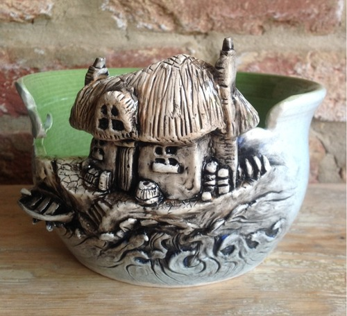 """Cottage By The Sea"" Ceramic Yarn Bowl"