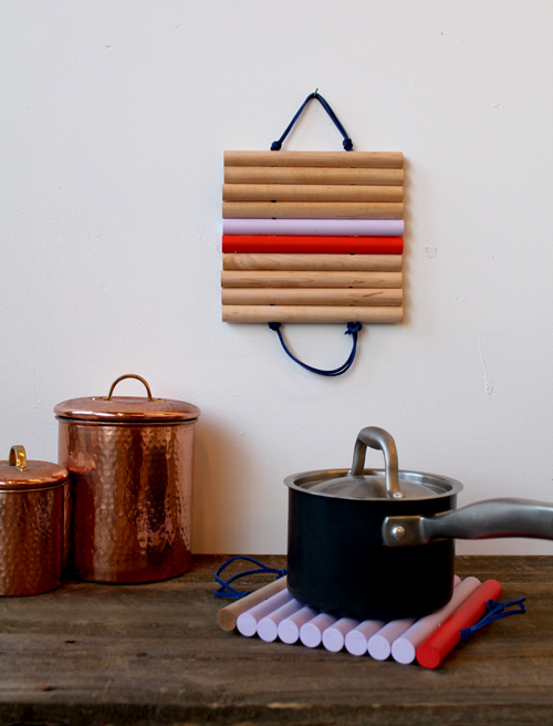 How-To: Color Block Leather and Wood Trivets